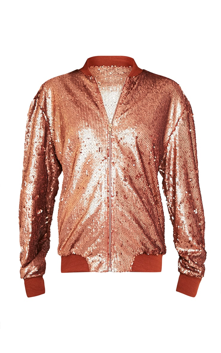 Iola Rose Gold Sequin Bomber Jacket 3