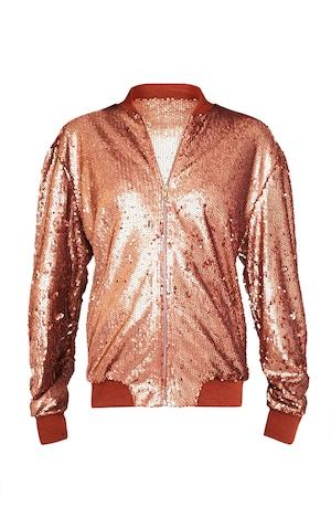 1f01edd38 Iola Rose Gold Sequin Bomber Jacket