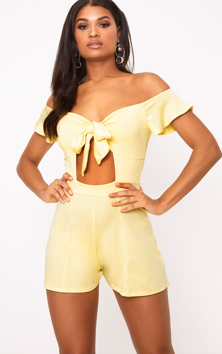 Yellow Bust Bow Playsuit  1