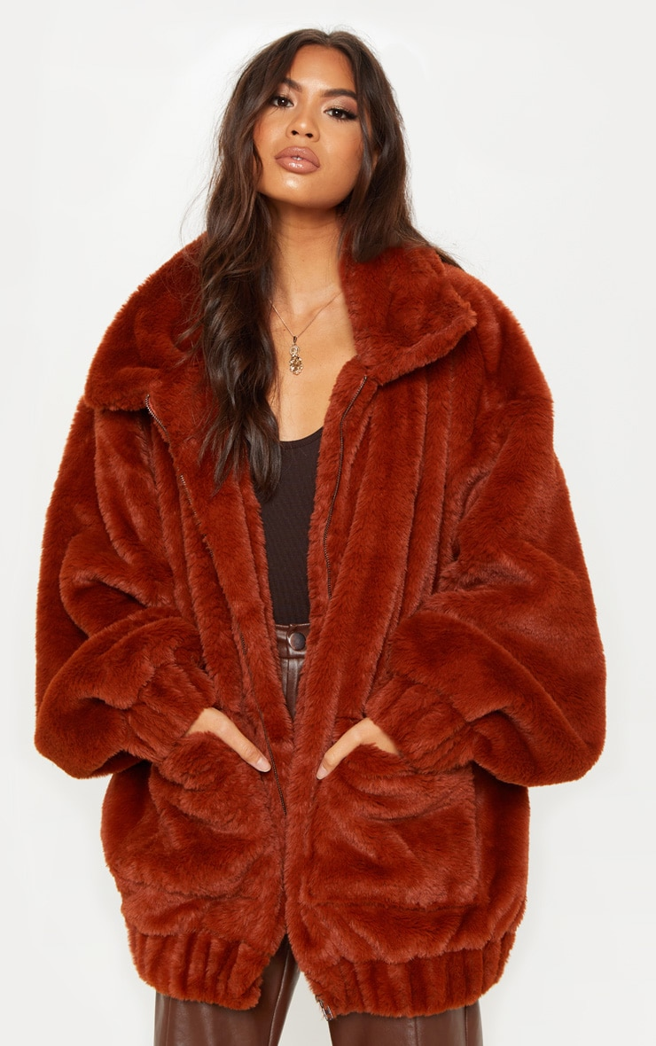 Brown Faux Fur Pocket Front Coat 1