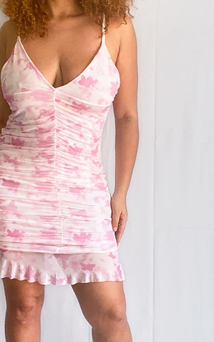 Plus Baby Pink Butterfly Print Ruched Bodycon Dress 4