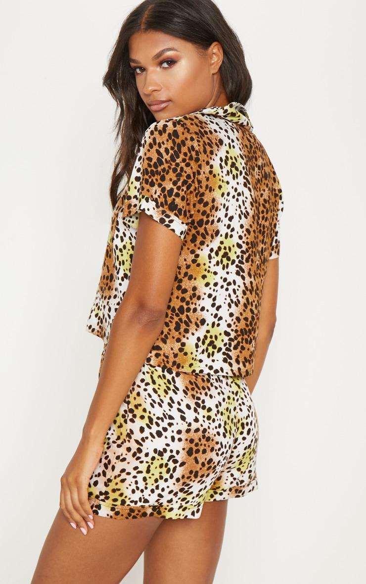 Tan Leopard Print Short Sleeve Button Up PJ Set 2