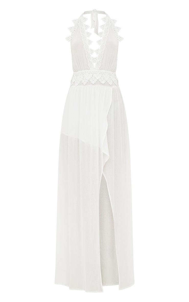 White Cheesecloth Crochet Trim Maxi Dress 3