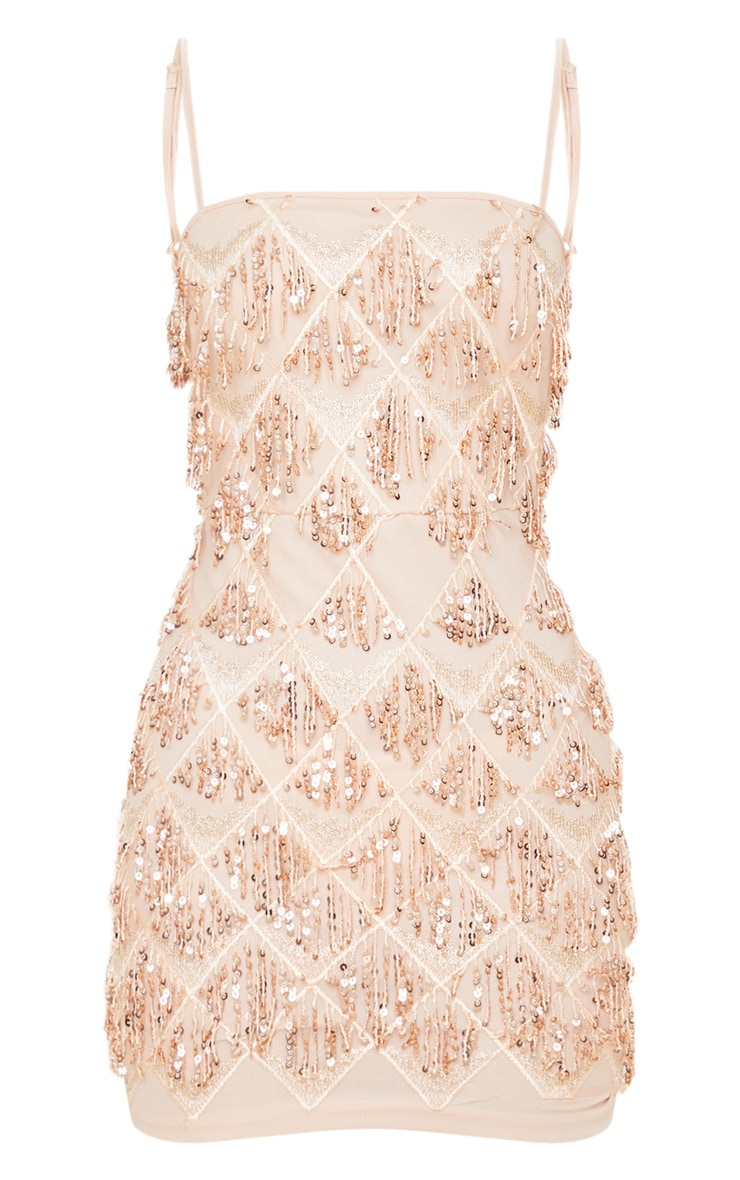 Nude Sequin Strappy Square Neck Bodycon Dress 3