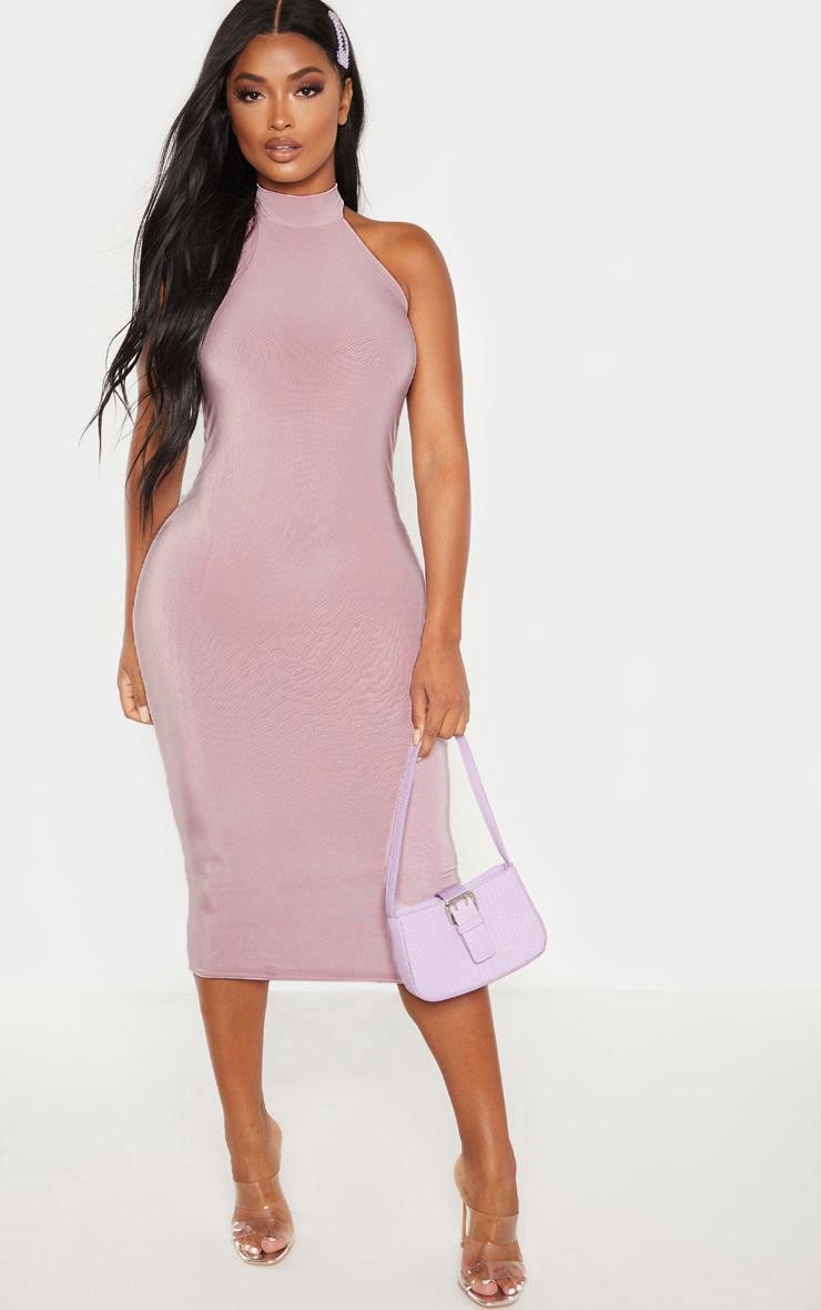 Shape Dusty Lilac Slinky Halterneck Midaxi Dress 4