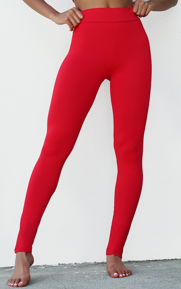 Red Yoga Luxe High Waist Gym Leggings 2