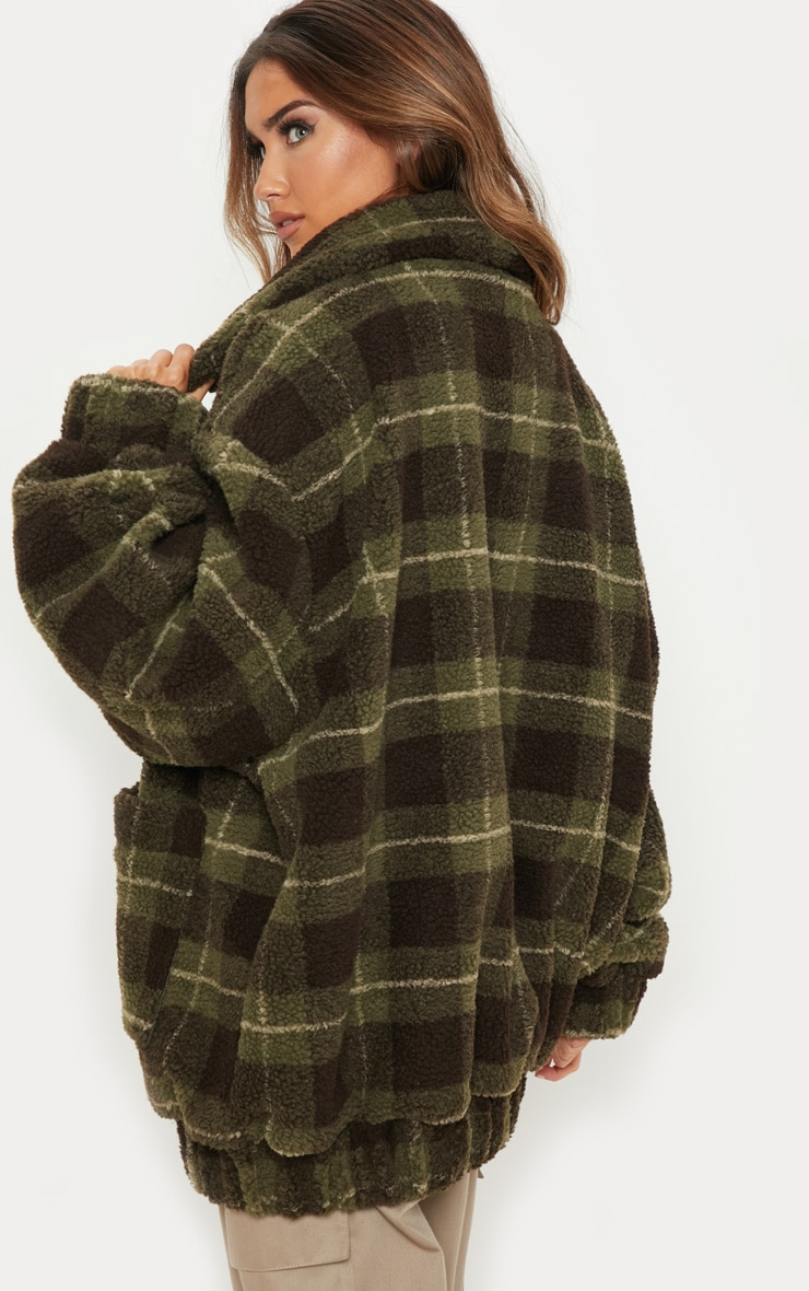 Khaki Checked Borg Jacket 2