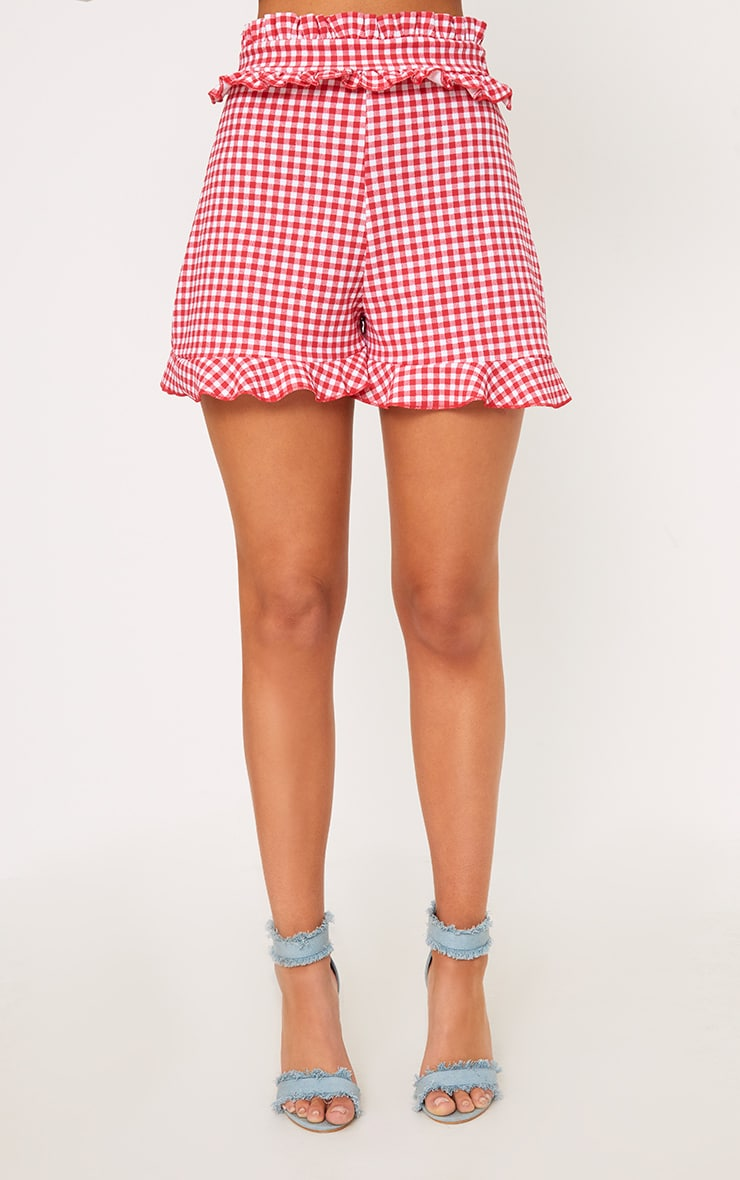 Red Gingham Frill Detail Shorts 4