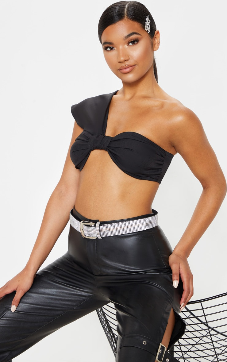 Black Twist One Shoulder Crop Top 1