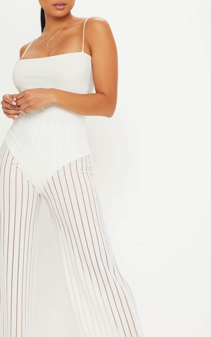 Petite White Burn Out Mesh Wide Leg Pants 5
