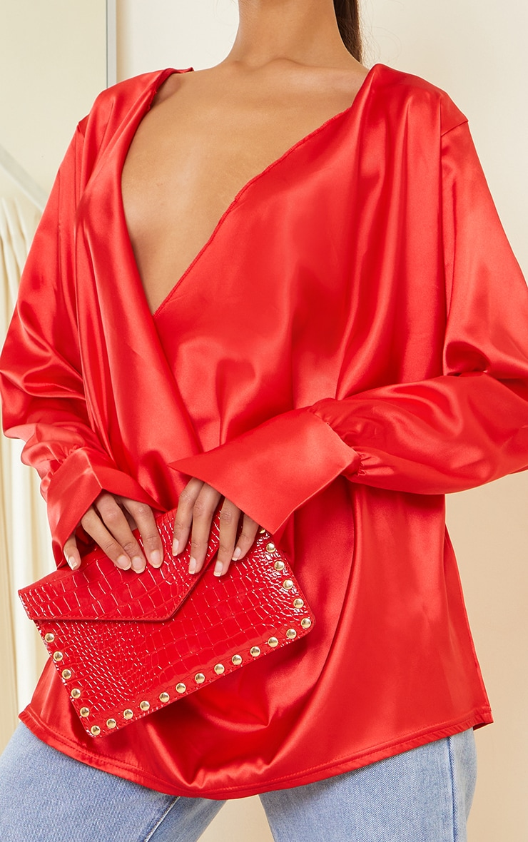 Red Patent Croc Gold Studded Envelope Clutch Bag 1