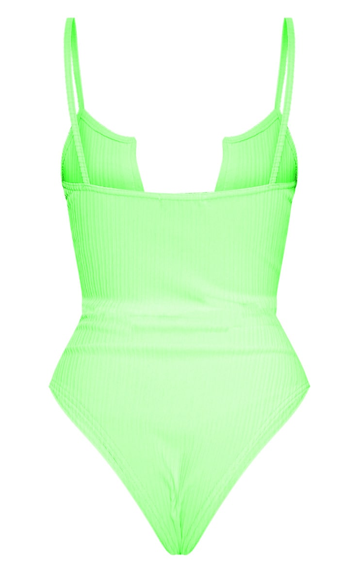 Neon Lime Strappy Ribbed V Plunge Bodysuit 4