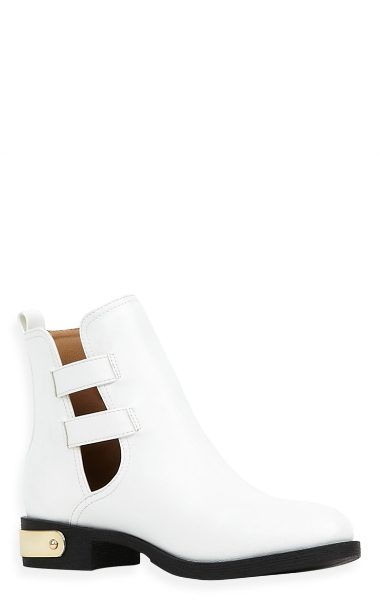 Juliet White Cut Out Ankle Boots-6 3
