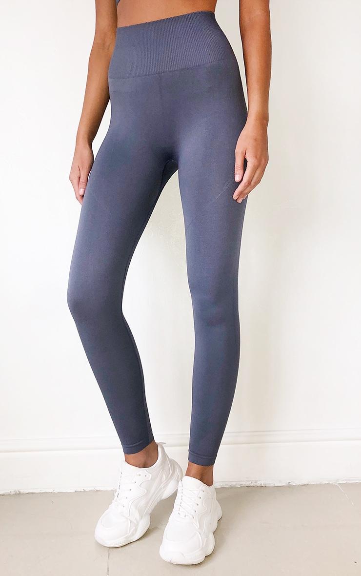Grey High Waist Seamless Gym Leggings 2