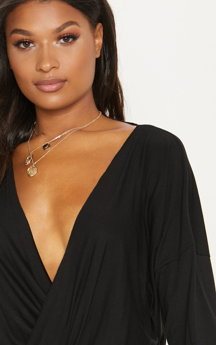Black Jersey Drape Wrap Top 5