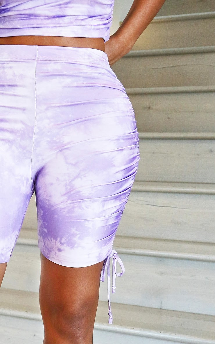 Shape Lilac Tie Dye Slinky Ruched Side Bike Shorts 5