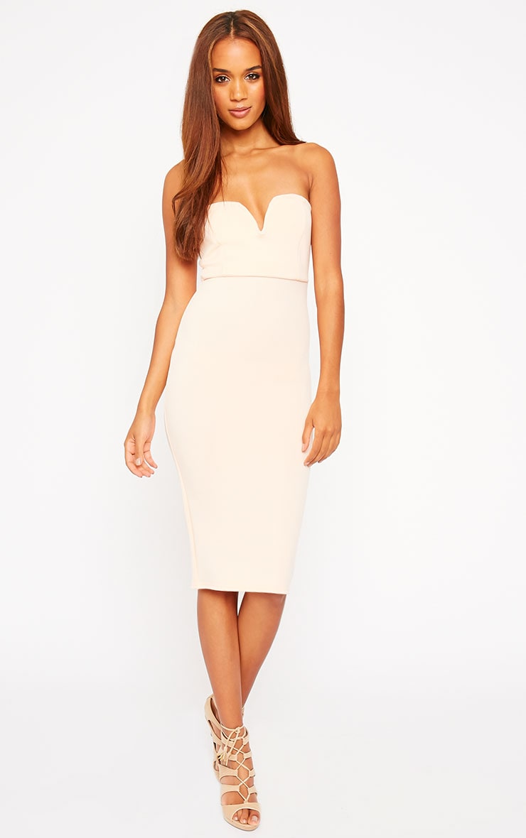 Zenda Nude Bandeau Midi Dress 1