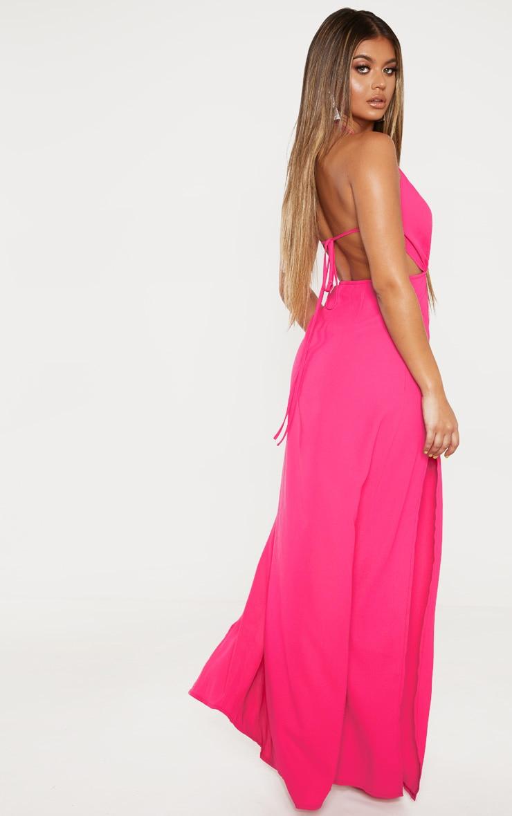 Pink Halterneck Keyhole Extreme Split Maxi Dress 2