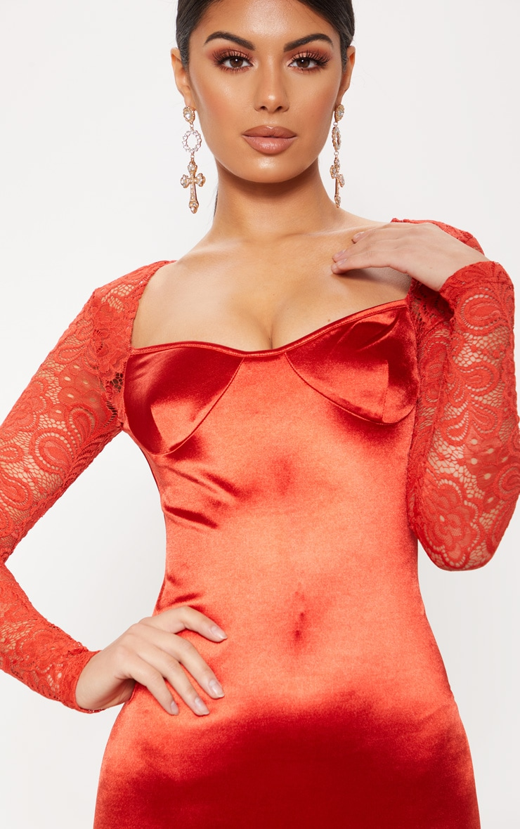 Red Satin Lace Sleeve Bodycon Dress 5