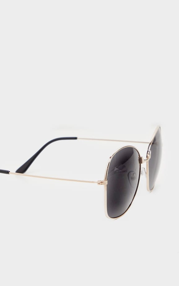 Black Oversized Square Lens Gold Metal Frame Sunglasses 3