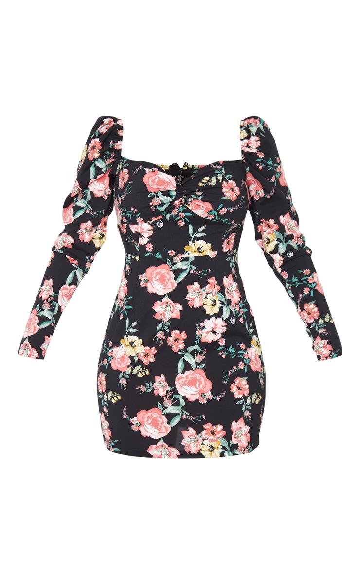 Black Floral Print Puff Shoulder Square Neck Shift Dress 5