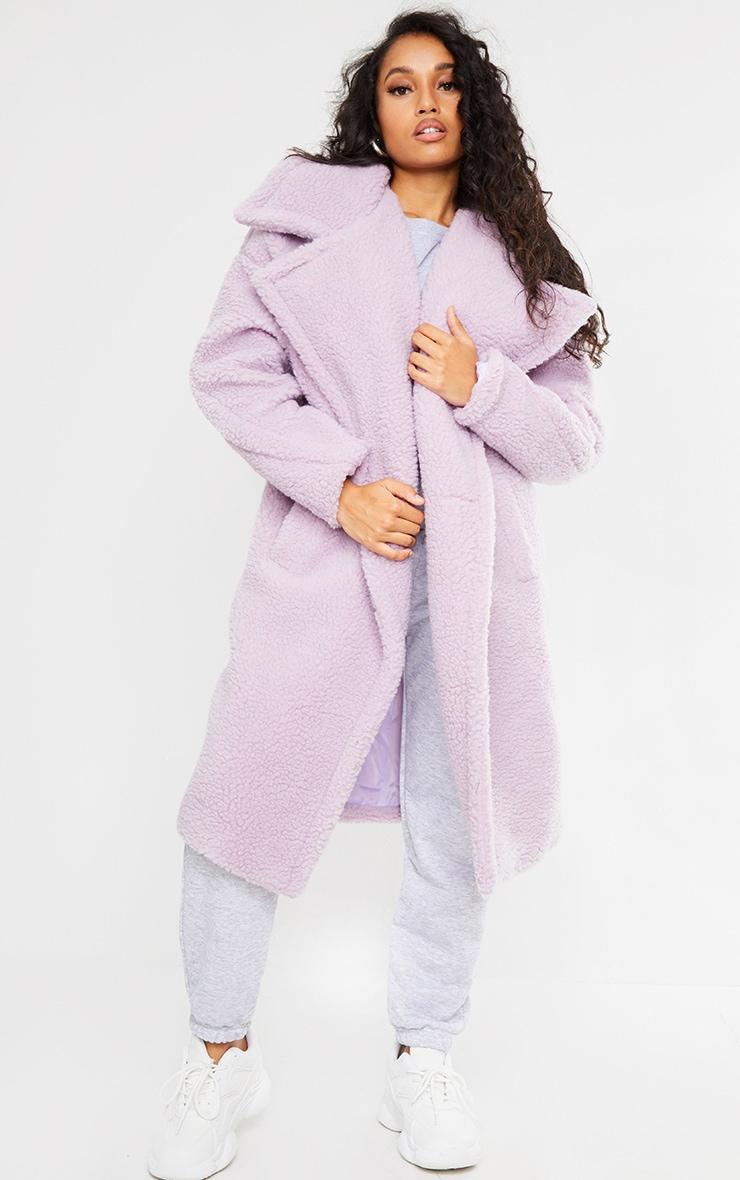 Petite Lilac Borg Oversized Coat 1