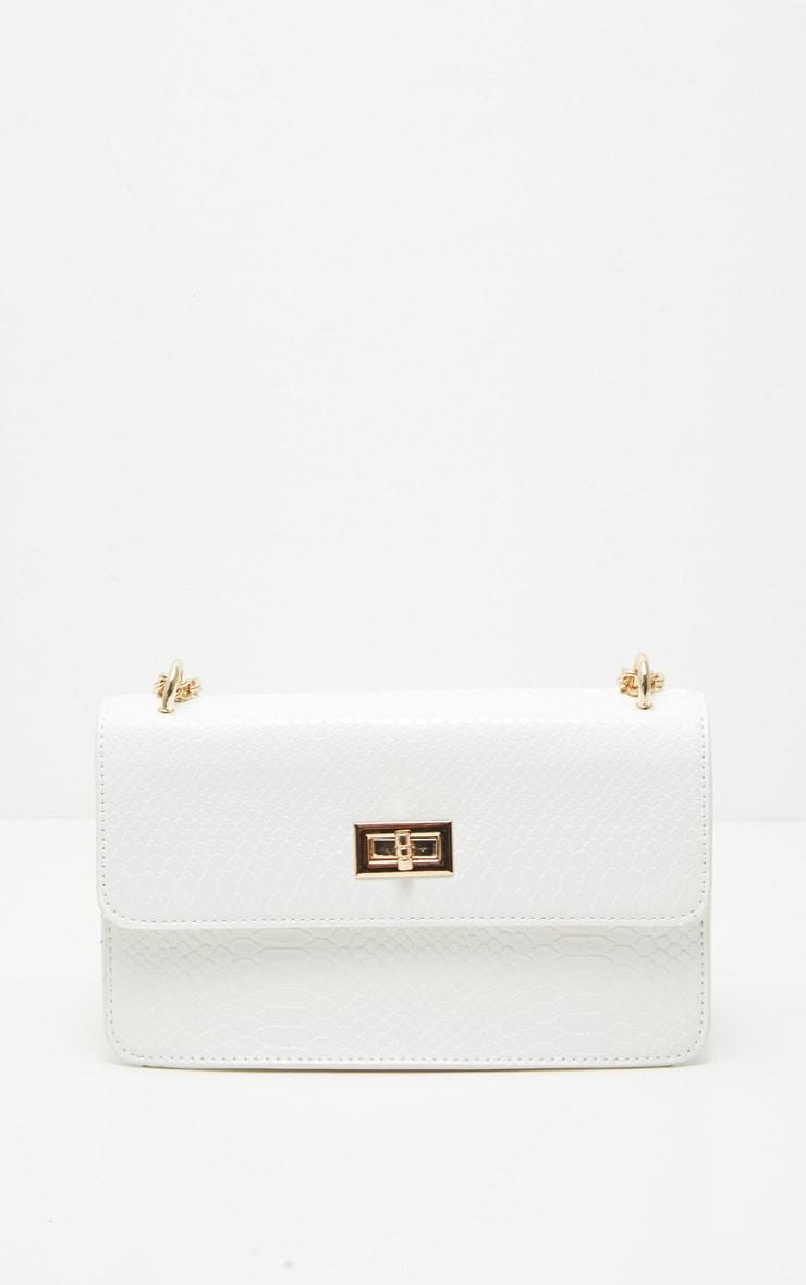 White Croc Chain Cross Body Bag 3