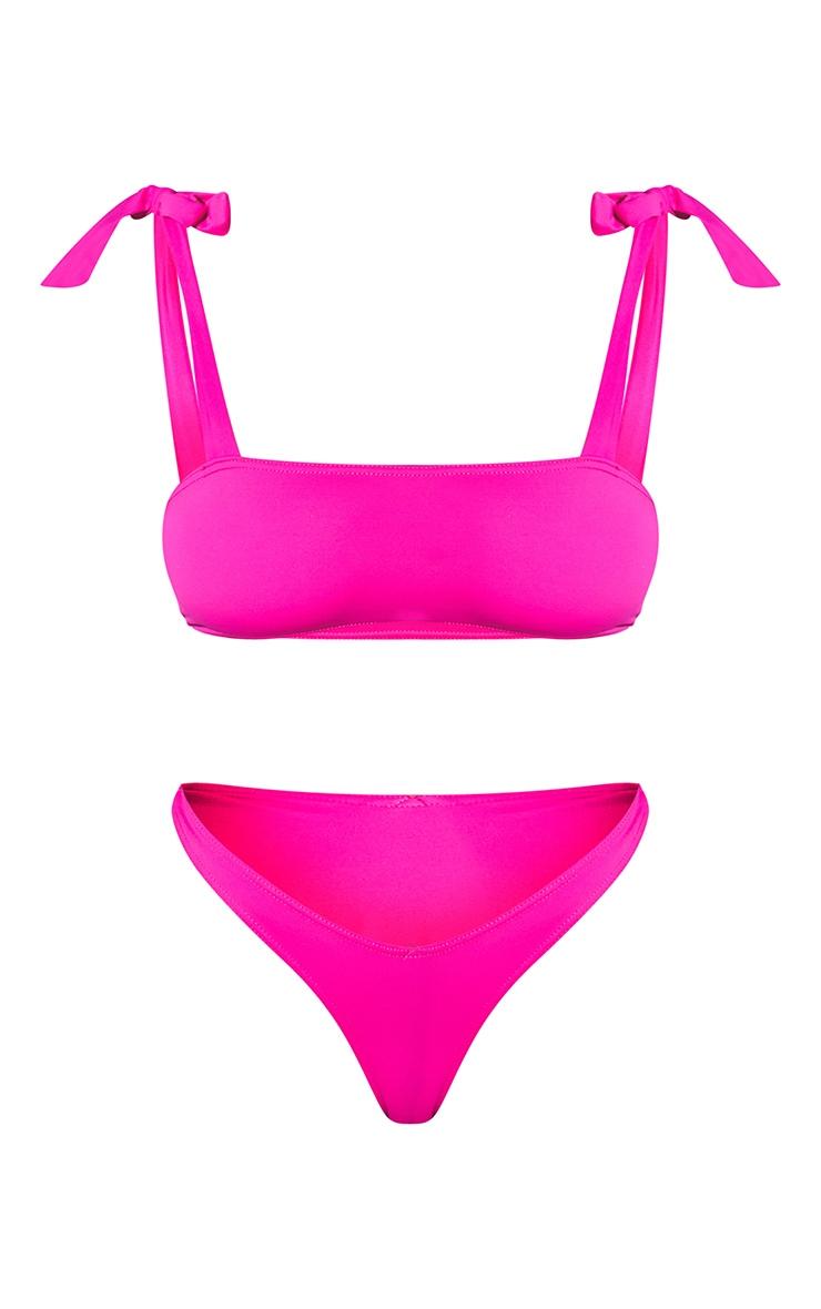 Pink Bow Shoulder Bikini Set 5