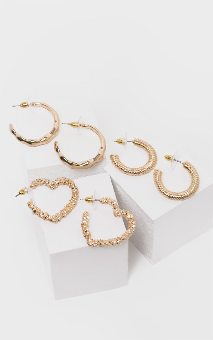 Gold Multi Shape Mini Hoop Pack 2