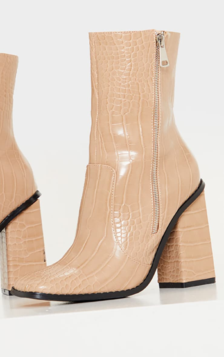 Nude Square Toe Chunky Block Heel Ankle Boot 3