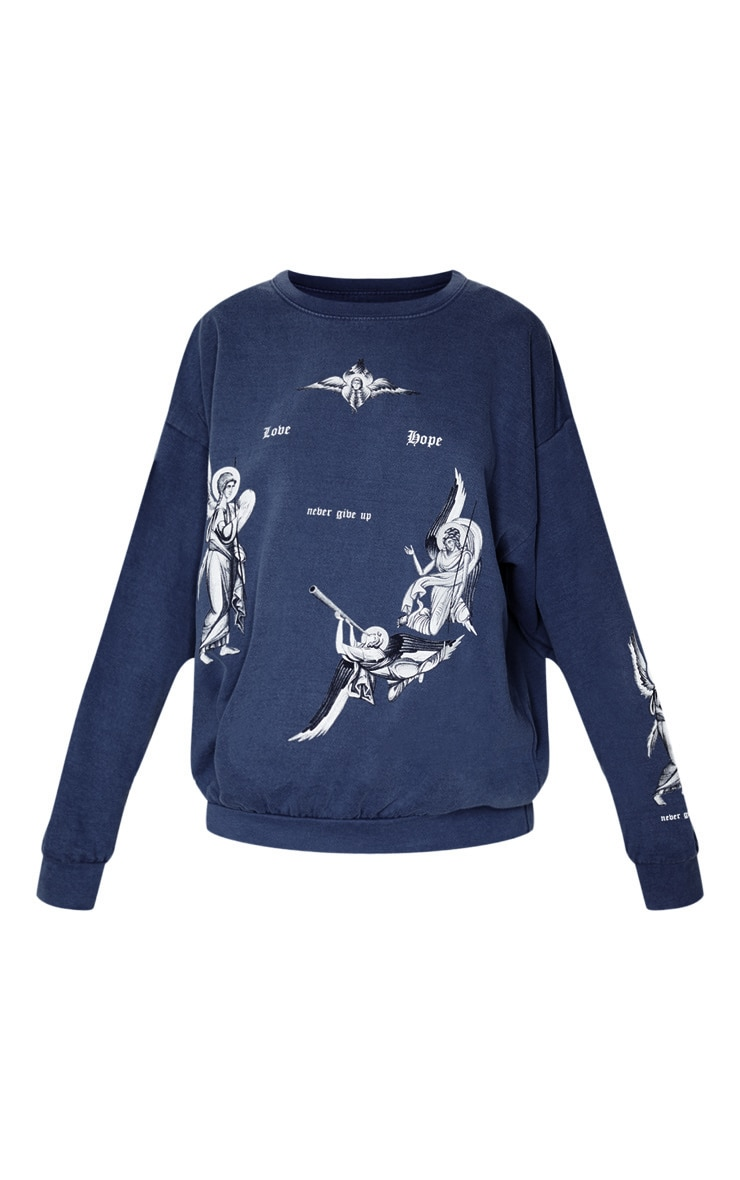 Navy Love Hope Printed Washed Sweater 3