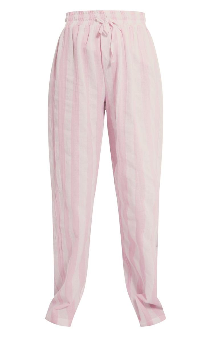 Pink Mix And Match Wide Stripe Cotton Wide Leg PJ Bottoms 5