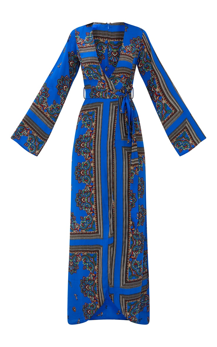 Cobalt Print Satin Kimono Maxi Dress 3
