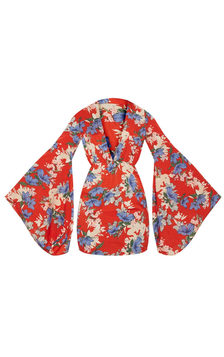Red Oriental Flare Sleeve Shift Dress 3