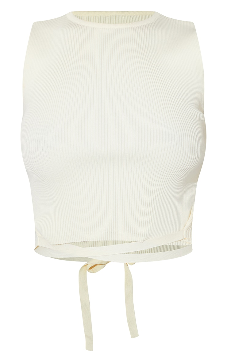 Cream Tie Waist Knitted Cropped Top 5