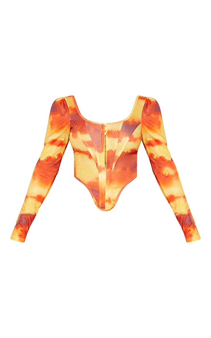 Orange Abstract Cloud Print Jersey Long Sleeve Pointed Hem Corset 5