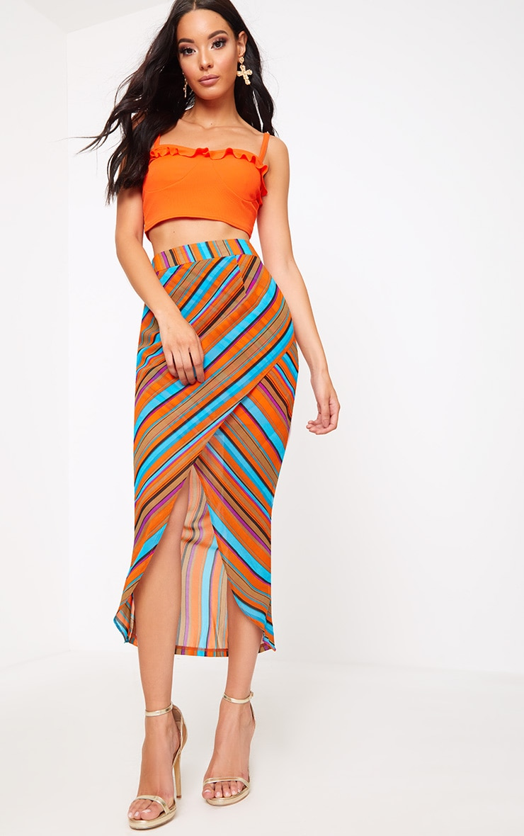 Orange Stripe Wrap Midaxi Skirt 1