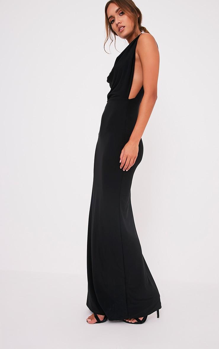 Sharnia Black Slinky Cowl Front Maxi Dress 5