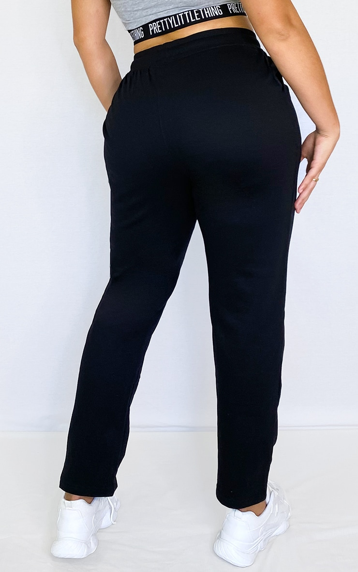 Plus Black Drawstring Waist Sweatpants 3