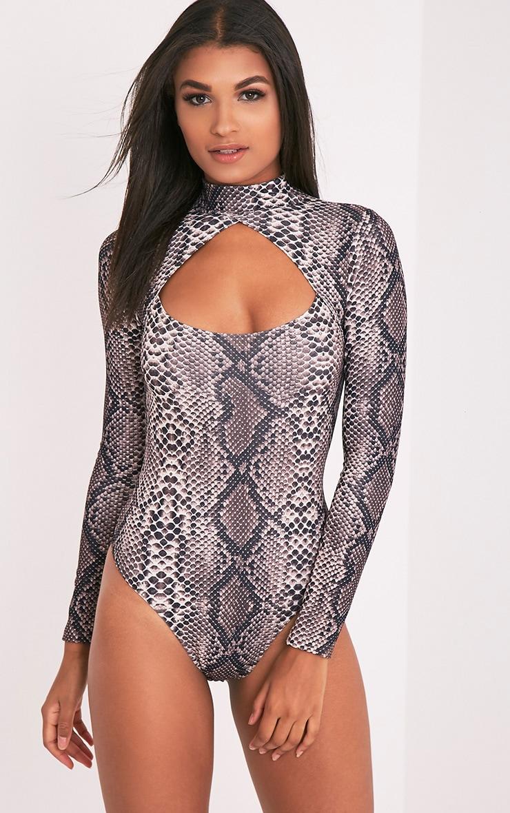Dona Brown Snake Print Open Front Thong Bodysuit 3