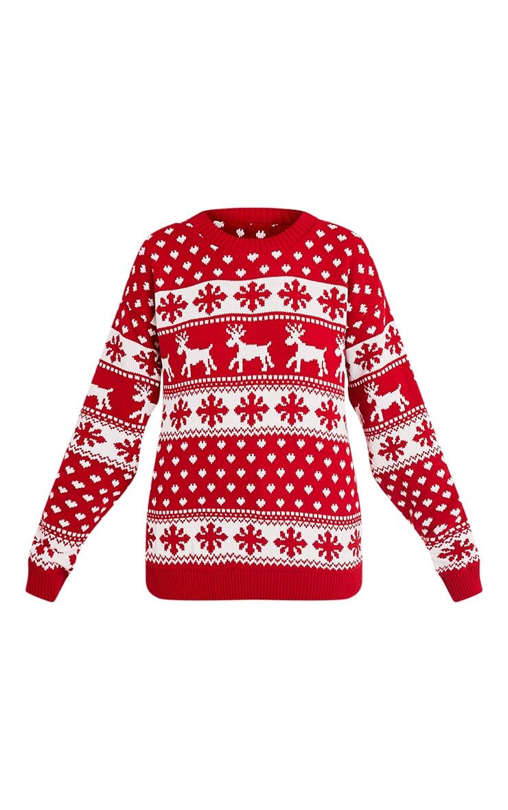 Snowflake/Reindeer Red Mix Christmas Jumper 3