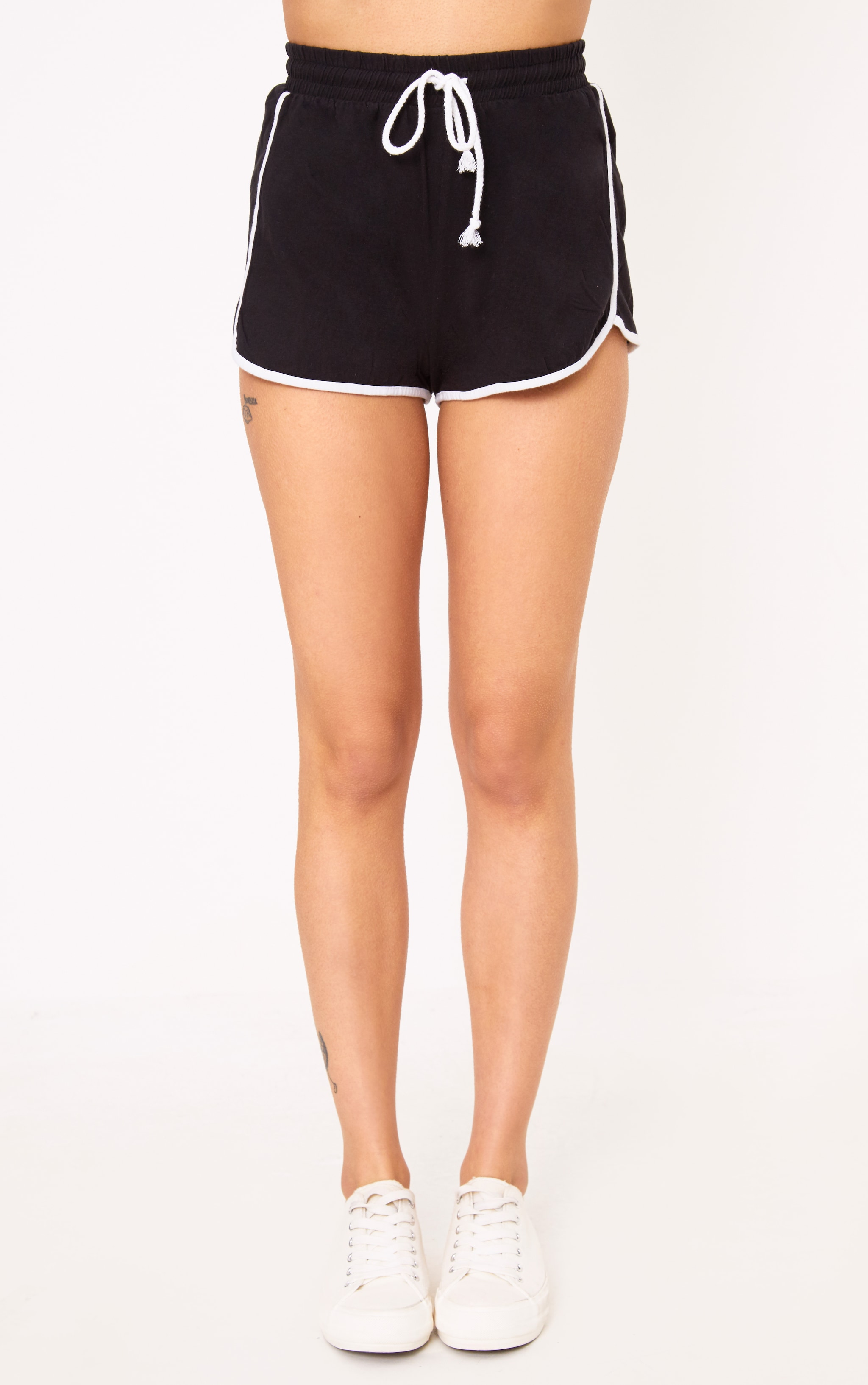 Black Contrast Binding Runner Shorts 2