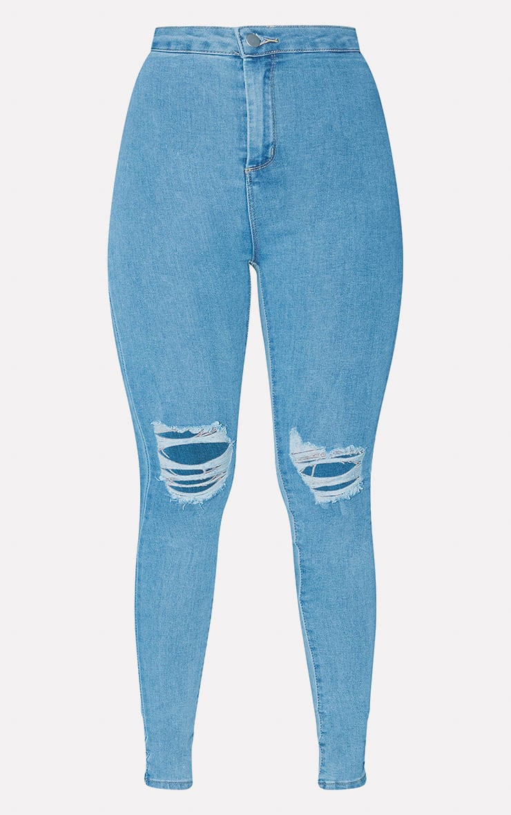 PRETTYLITTLETHING Light Blue Knee Rip Disco Skinny Jean 3