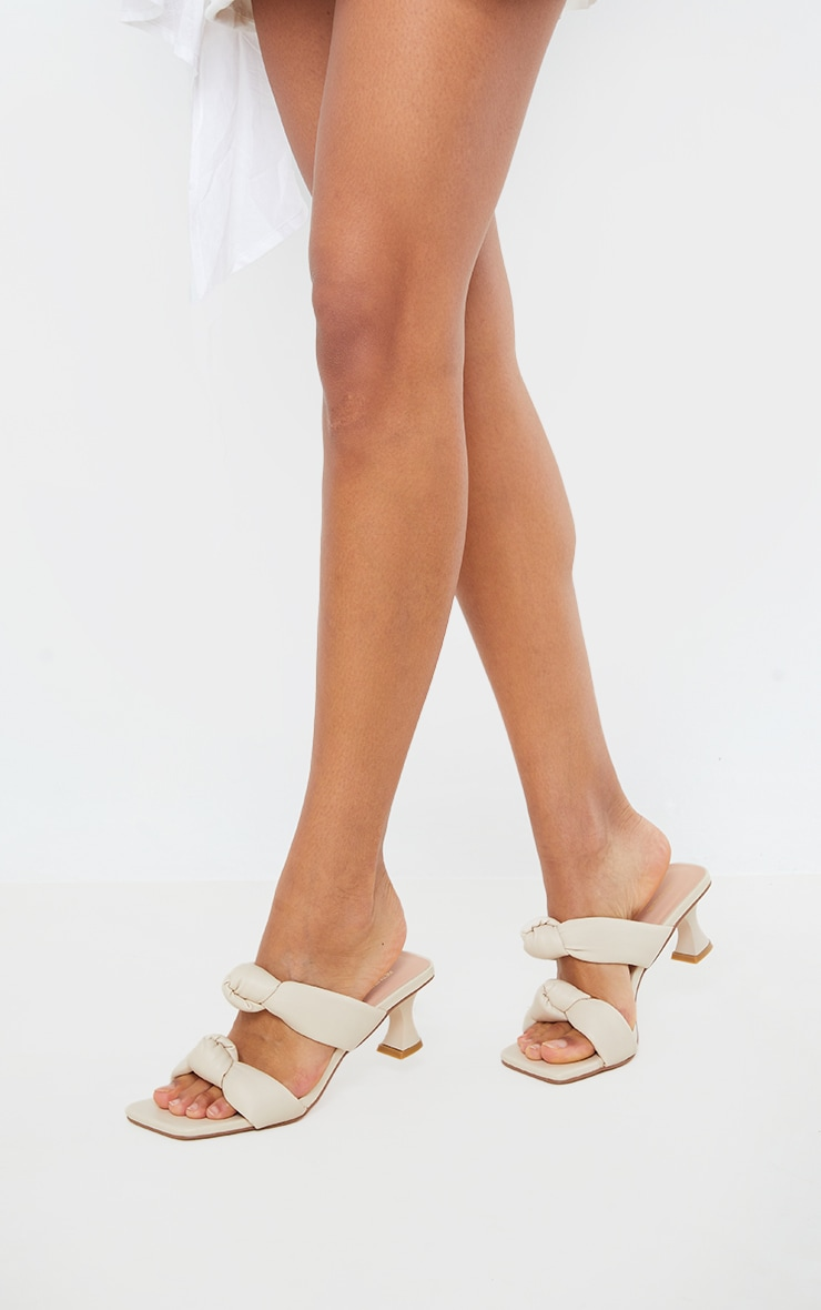 Cream Padded Knotted Twin Strap Low Heel Mules 2