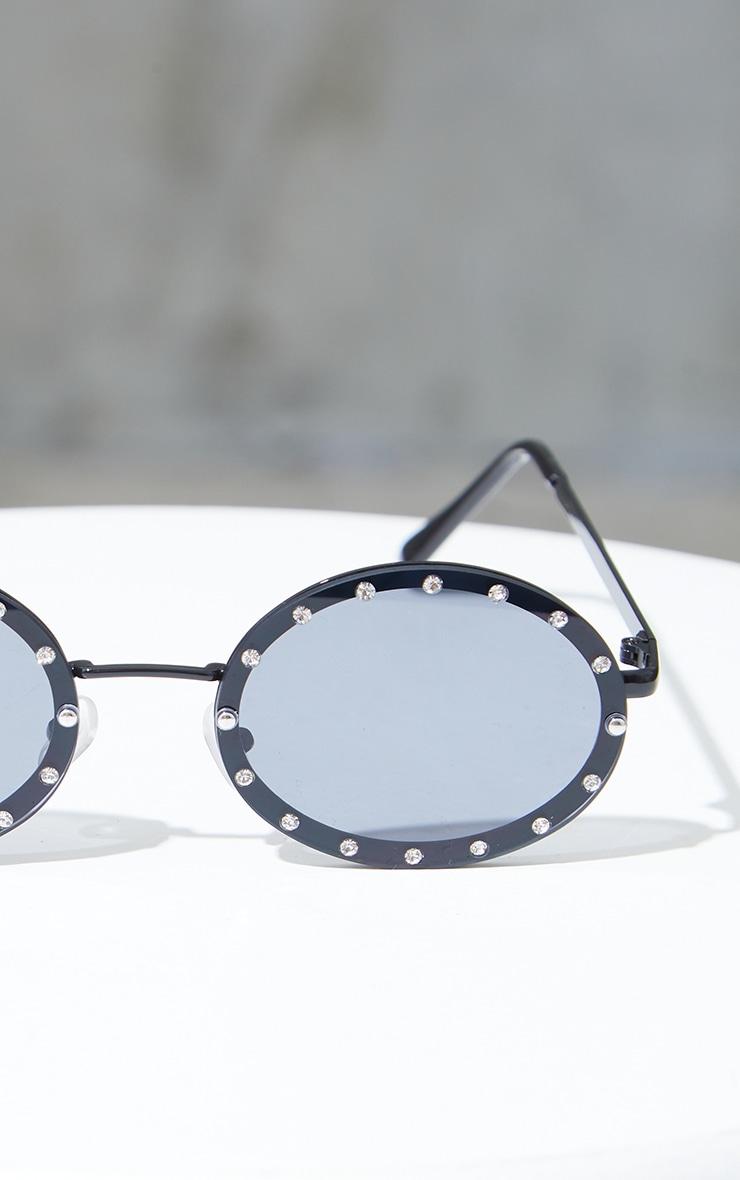 Black Lens Silver Diamante Round Sunglasses 3