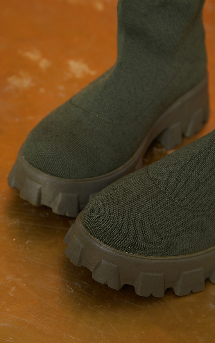 Khaki Knitted Sock Ankle Boots 4