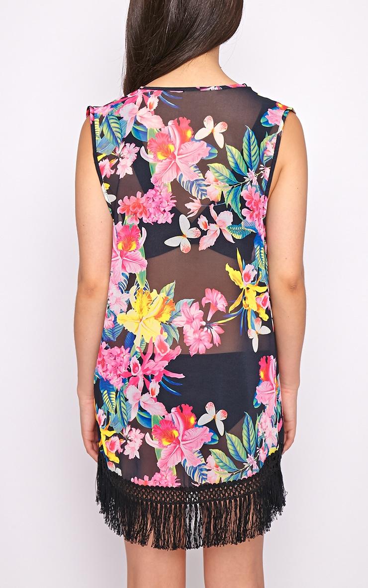 Gianna Black Floral Chiffon Sleeveless Kimono  2