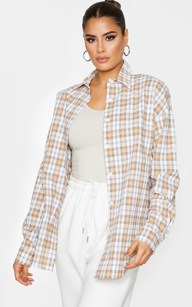 Tall Cream Oversized Checked Shirt 1