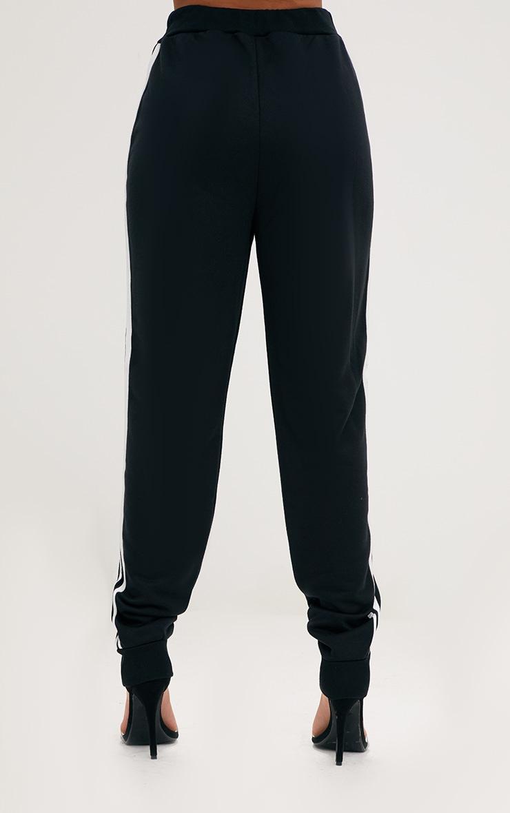 Black Contrast Stripe Joggers  4