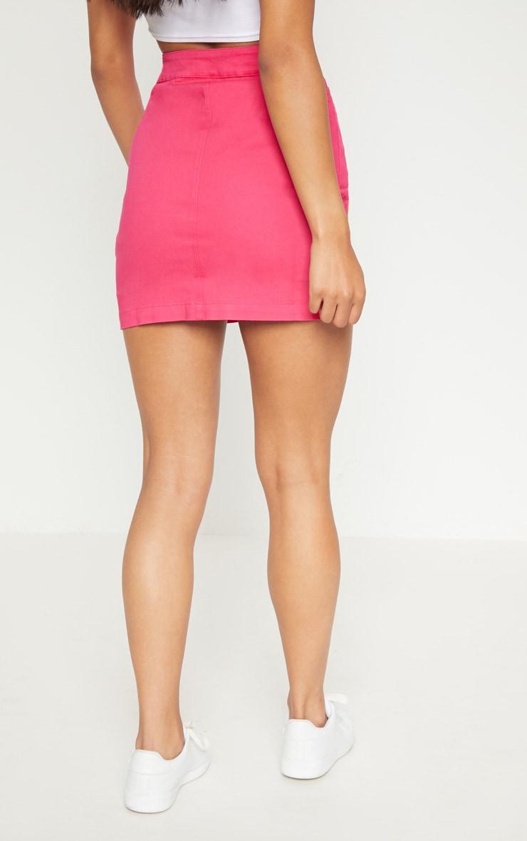 Bright Pink Cammie Denim Mini Skirt 4